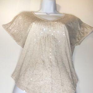 Eyeshadow Sequin Short Sleeve Shirt
